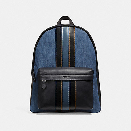 COACH f23218 CHARLES BACKPACK WITH VARSITY STRIPE DENIM/BLACK/DENIM/BLACK ANTIQUE NICKEL