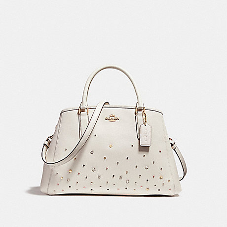 COACH f23235 SMALL MARGOT CARRYALL WITH STARDUST STUDS LIGHT GOLD/CHALK