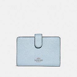 COACH F23237 Medium Corner Zip Wallet SILVER/PALE BLUE