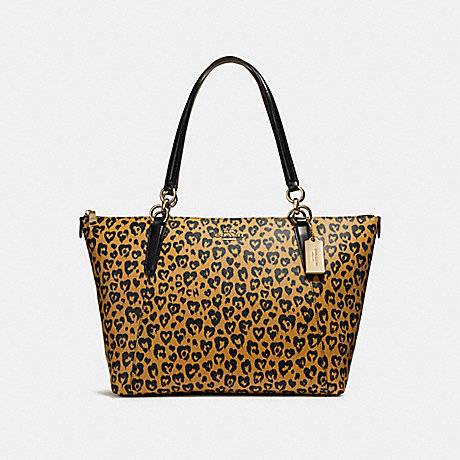 COACH f23238 AVA TOTE WITH WILD HEART PRINT LIGHT GOLD/NATURAL MULTI
