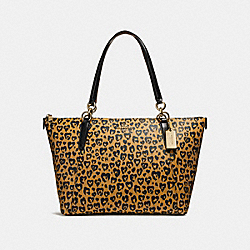 AVA TOTE WITH WILD HEART PRINT - f23238 - LIGHT GOLD/NATURAL MULTI