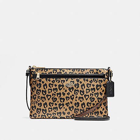 COACH f23239 EAST/WEST CROSSBODY WITH WILD HEART PRINT<br>蔻驰EAST/WEST论野心脏印 光金/自然多