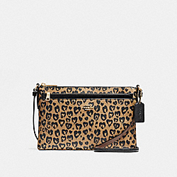 COACH F23239 - EAST/WEST CROSSBODY WITH WILD HEART PRINT LIGHT GOLD/NATURAL MULTI