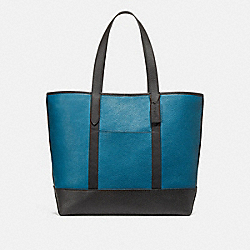 WEST TOTE IN COLORBLOCK - f23248 - RIVER/BLACK ANTIQUE NICKEL