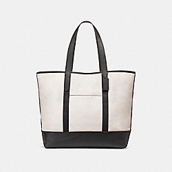 WEST TOTE IN COLORBLOCK - f23248 - CHALK/BLACK/BLACK ANTIQUE NICKEL