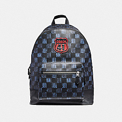 WEST BACKPACK WITH GRAPHIC CHECKER PRINT AND COACH 41 MOTIF - f23249 - MIDNIGHT NVY MULTI CHECKER/BLACK ANTIQUE NICKEL
