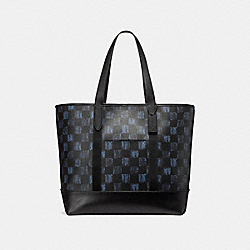 WEST TOTE WITH GRAPHIC CHECKER PRINT - f23250 - MIDNIGHT NVY MULTI CHECKER/BLACK ANTIQUE NICKEL
