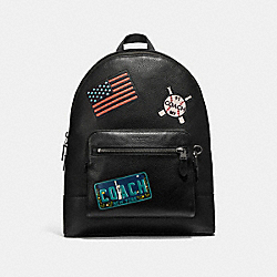 WEST BACKPACK WITH AMERICAN DREAMING PATCHES - f23251 - ANTIQUE NICKEL/BLACK