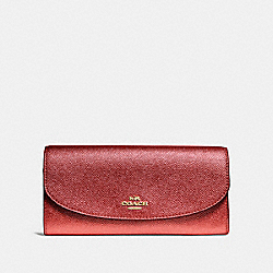 COACH F23255 Slim Envelope Wallet METALLIC CURRANT/LIGHT GOLD