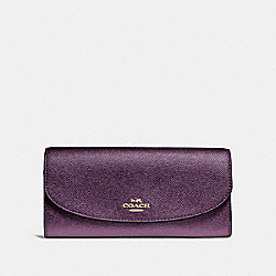 COACH F23255 - SLIM ENVELOPE WALLET METALLIC RASPBERRY/LIGHT GOLD
