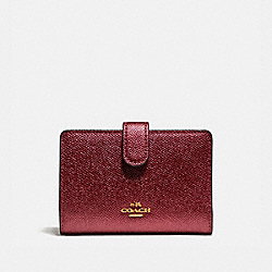 COACH F23256 Medium Corner Zip Wallet LIGHT GOLD/METALLIC CHERRY