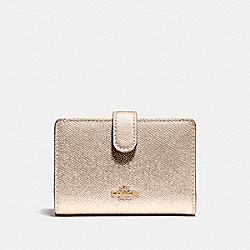 COACH F23256 Medium Corner Zip Wallet LIGHT GOLD/PLATINUM