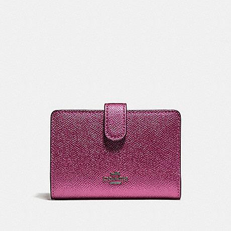 Coach F23256 Medium Corner Zip Wallet Metallic Magenta