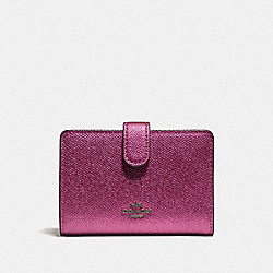 COACH F23256 - MEDIUM CORNER ZIP WALLET METALLIC MAGENTA/BLACK ANTIQUE NICKEL