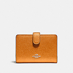 COACH F23256 Medium Corner Zip Wallet METALLIC TANGERINE/SILVER