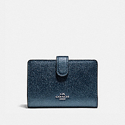 COACH F23256 Medium Corner Zip Wallet SILVER/METALLIC NAVY