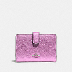 COACH F23256 Medium Corner Zip Wallet SILVER/METALLIC LILAC