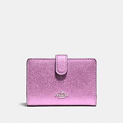 COACH F23256 Medium Corner Zip Wallet SILVER/METALLIC LILAC