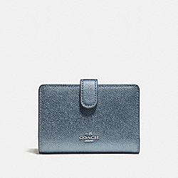 COACH F23256 Medium Corner Zip Wallet METALLIC POOL/SILVER