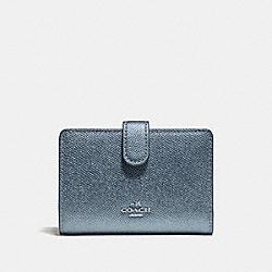 COACH F23256 Medium Corner Zip Wallet METALLIC POOL/SILVER