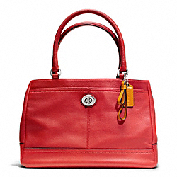 COACH F23280 - PARK LEATHER CARRYALL SILVER/VERMILLION