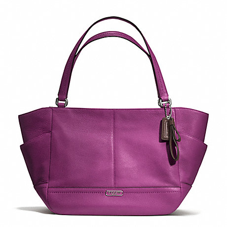 COACH f23284 PARK LEATHER CARRIE TOTE SILVER/AMETHYST