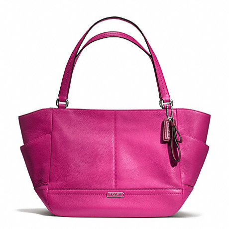 COACH f23284 PARK LEATHER CARRIE TOTE SILVER/BRIGHT MAGENTA