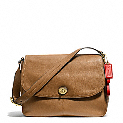 COACH F23288 Park Leather Flap Bag BRASS/BRITISH TAN