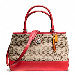 COACH F23292 - PARK SIGNATURE LARGE CARRYALL SILVER/KHAKI/VERMILLION