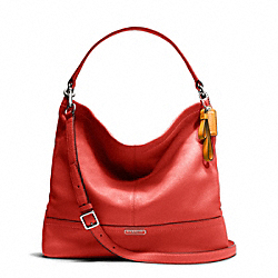 COACH F23293 Park Leather Hobo SILVER/VERMILLION