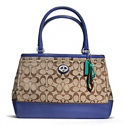 COACH F23294 - PARK SIGNATURE CARRYALL SILVER/KHAKI/FRENCH BLUE