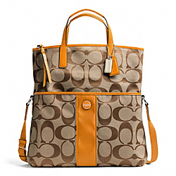 COACH F23304 - SIGNATURE STRIPE FOLDOVER TOTE SILVER/KHAKI/ORANGE SPICE