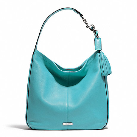 Coach F23309 Avery Leather Hobo Silver Turquoise