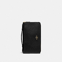 COACH F23334 - DOUBLE ZIP TRAVEL WALLET BLACK/IMITATION GOLD