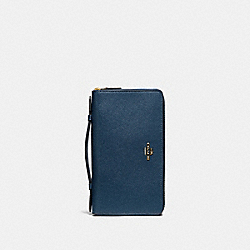 COACH F23334 Double Zip Travel Wallet DENIM/LIGHT GOLD