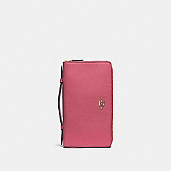COACH F23334 - DOUBLE ZIP TRAVEL WALLET ROUGE/GOLD