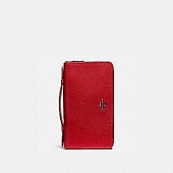 COACH F23334 Double Zip Travel Organizer BLACK ANTIQUE NICKEL/TRUE RED