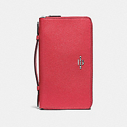DOUBLE ZIP TRAVEL WALLET - F23334 - WASHED RED/SILVER