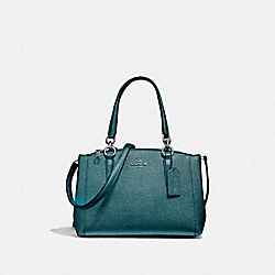 COACH F23337 - MINI CHRISTIE CARRYALL BLACK ANTIQUE NICKEL/METALLIC DARK TEAL