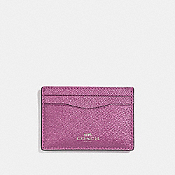 COACH F23339 Flat Card Case SILVER/METALLIC LILAC