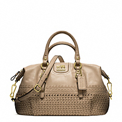 COACH F23342 - MADISON WOVEN JULIETTE SATCHEL BRASS/TAUPE