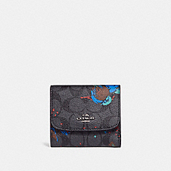 COACH F23399 Small Wallet With Bird Print SILVER/BLACK SMOKE