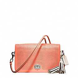 PERFORATED LEATHER PENELOPE SHOULDER PURSE - f23404 - SILVER/CORAL/LIGHT SAND