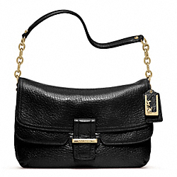 COACH F23425 Madison Pinnacle Leather Flap GOLD/BLACK