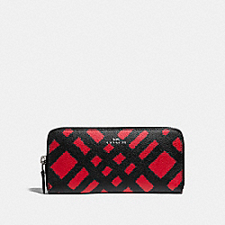 COACH F23454 Slim Accordion Zip Wallet With Wild Plaid Print SVMRT