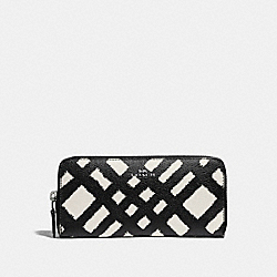 COACH F23454 Slim Accordion Zip Wallet With Wild Plaid Print SVMRW
