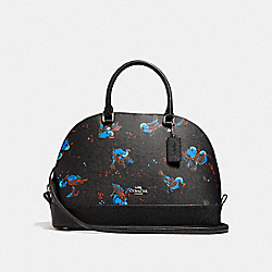 SIERRA SATCHEL WITH BIRD PRINT - f23456 - SILVER/BLACK MULTI