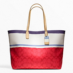 COACH F23462 Legacy Weekend Painted Stripe Pvc Large Dogleash Tote