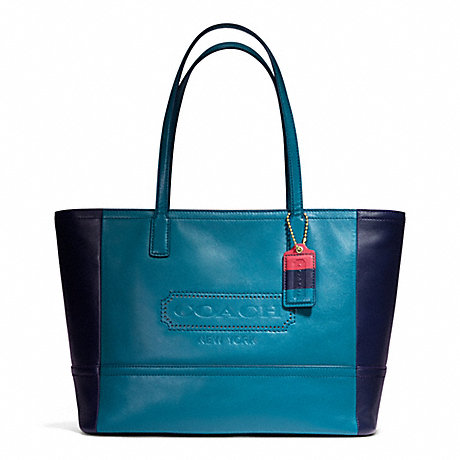 COACH F23469 WEEKEND COLORBLOCK LEATHER MEDIUM ZIP TOP TOTE ONE-COLOR