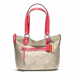 COACH F23473 Poppy Metallic Signature Sateen Small Tote